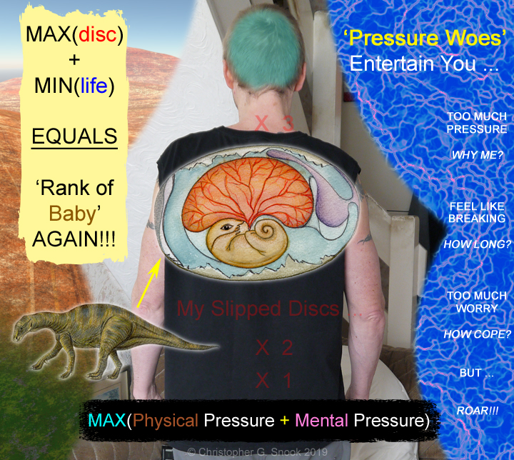 Slipped discs and their 'pressure tests' - physical and mental extremes, with 'need to vent' headaches.